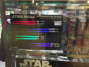 Star Wars lightsaber chop sticks.