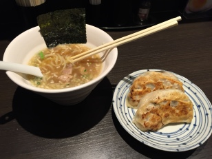 Ramen (mini bowl) and jumbo gyoza. All of the ramen places in the museum serve mini-bowls, but I don't recommend ordering this size, because it doesn't replicate a normal bowl of ramen. If you want to try several places, I would order a normal bowl and just not finish it, and then go to the next place. Or finish it, what do I know? I don't even really care about food.